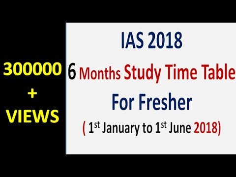 IAS 2018 = 6 Months Study Time Table For Freshers (Eng+Hindi)