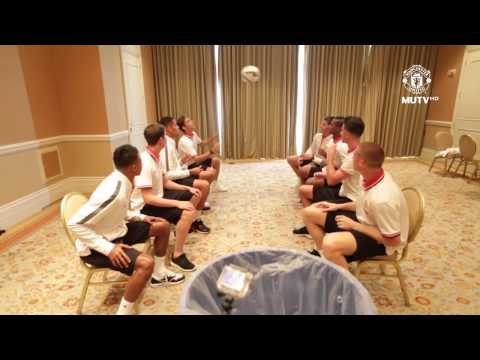 Manchester United Players Try Header Bin Challenge