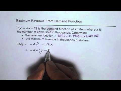 Find Maximum Revenue From Demand Function by Partial Factoring Quadratic Equation