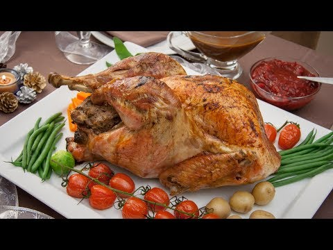 Roasted Stuffed Turkey with Cranberry Sauce and Gravy