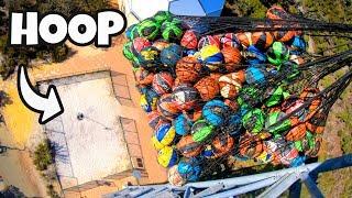 250 Basketballs Vs. 1 Hoop From 45m!