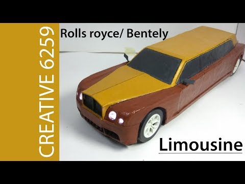 How To Make Electric Toy Car |ROLLS ROYCE LIMOUSINE |Using Cardboard |DIY DC Motor car
