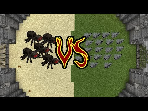 5 Spiders VS 20 Silverfish! Monster Battle Arena.