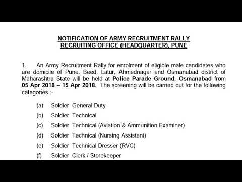 Indian army open Bharati rally in Maharashtra Pune...