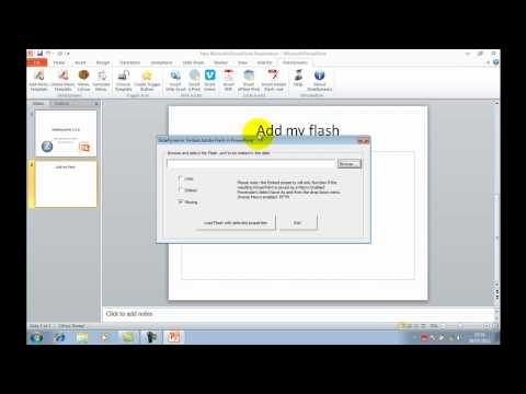 embed flash with properties:play, loop and embed in Powerpoint in 1 click