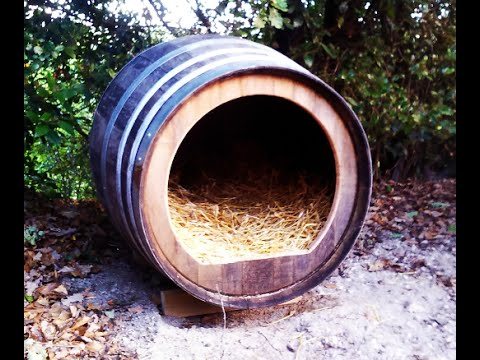 14-How to make a doghouse with a wine barrel for a young german shepperd