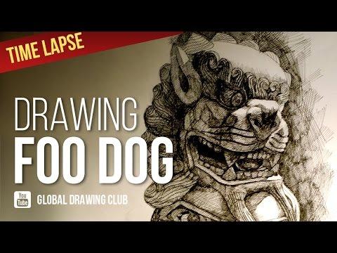 DRAWING FOO DOG STATUE. Isograph Rotring.