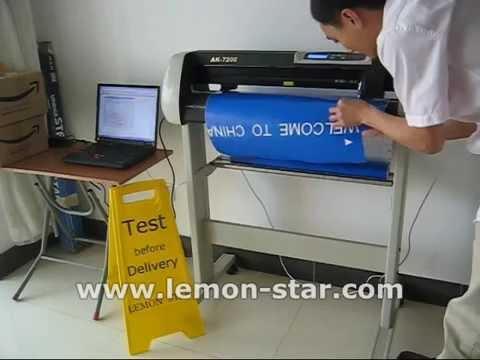 How to use Schneideplotter cutting plotter machine lettering vinyl sticker usb -AK720E كتر بلوتر
