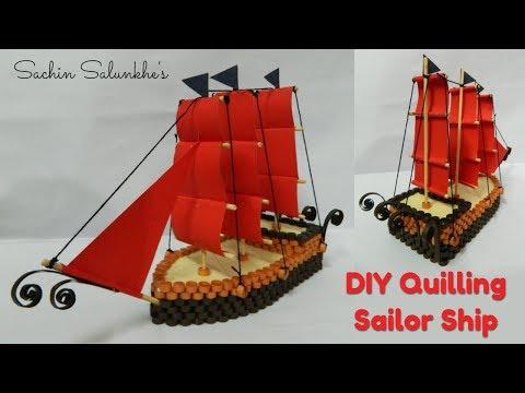 Paper Quilling Sailor Ship/DIY Sailor ship/Quilled Pirates Ship