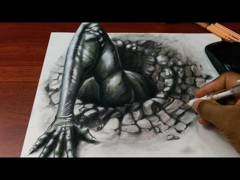 Drawing 3D Demon/Devil - Anamorphic Drawing