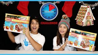 10 MINUTES GINGERBREAD HOUSE CHALLENGE KENDRY VS ALISSON | SISTER FOREVER