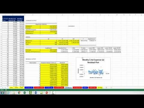 Basic Excel Business Analytics #48: Data Analysis Regression feature