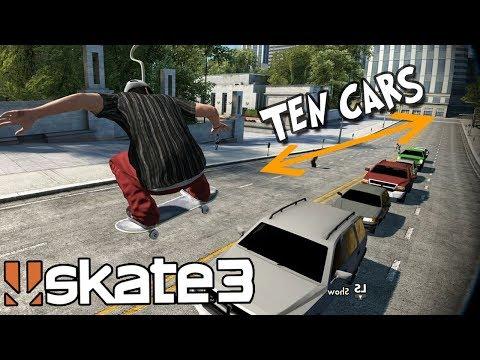 Skate 3: JUMPING TEN CARS CHALLENGE w/ INSANE SPEED GLITCH!?