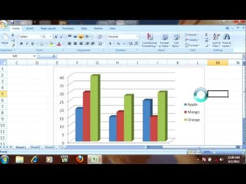 How to draw 3D cloumn bar & line chart/graph in MS excel 2007