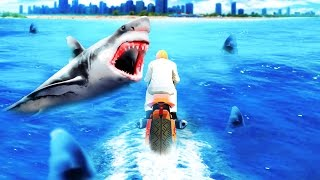 EXTREMELY DANGEROUS SHARK RACE! (GTA 5 Funny Moments)
