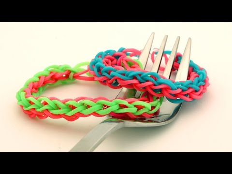 How To Make a 4-braided Rainbow Loom Bracelet on a Fork - Easy Loom Band Bracelet Tutorial