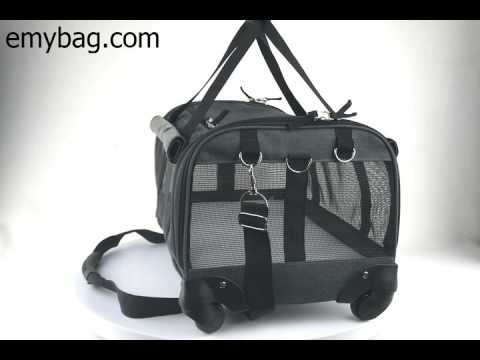 foldable pet carrier with 360 degree wheels emybag