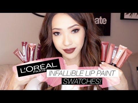L'Oréal Infallible Lip Paint MATTES & METALLICS Swatches! | LeSassafras