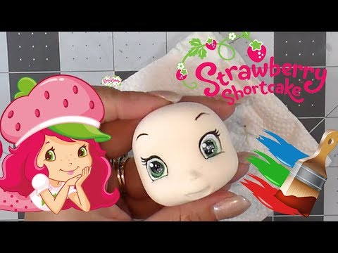 HOW TO PAINT STRAWBERRY SHORTCAKE'S FACE  | CLAY CRAFT  DIY | CLAY FIGURINE | Cup n Cakes Gourmet