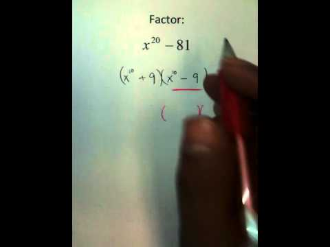 Moya Math Algebra 2 (Factoring Higher Order Polynomials Using DOTS).MOV