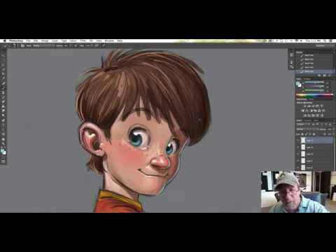 Character design in Photoshop on my Wacom Cintiq 22