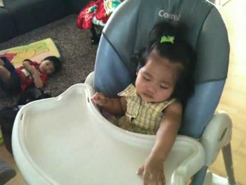 Baby Sarai falling asleep after eating