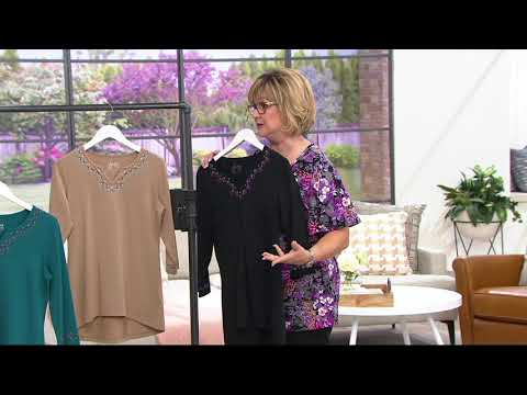 Denim & Co. Embroidered V-Neck Top w/ 3/4-Sleeves & Hi-Low Hem on QVC