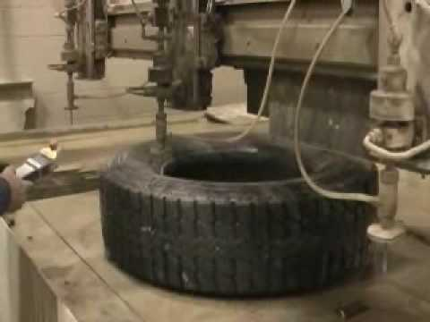 Waterjet Cutting Old Tire for Tire Recycling
