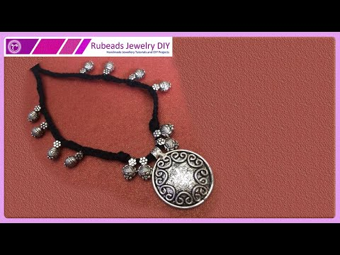 Braided Dori with Kolhapuri Beads Necklace Making | Handmade Jewellery Tutorial in Hindi