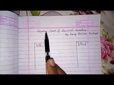 How to find square root of a decimal number by long division method