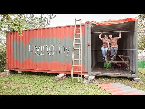 Building a Shipping Container Wall - Tiny Shipping Container House - Ep. 004 - Living Tiny Project