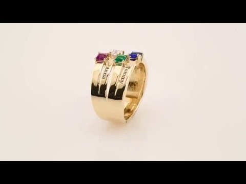14K Solid Gold Mother's Family Ring 1 to 4 Birthstones Children's Names Engraved