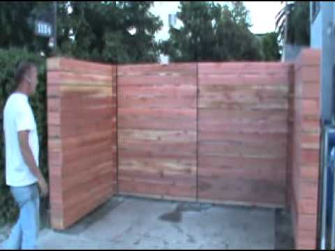 Rough Redwood Horizontal Wood Driveway Gates and Fence.mpg