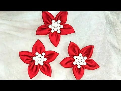 Stitch Easily : DIY Fabric Flowers Making With Pearls, How To Make Fabric Flowers,