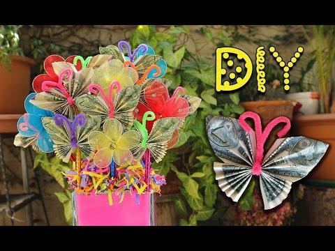 DIY Dollar Bill Butterfly Bouquet - Pinterest Inspired || Lucykiins