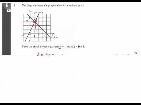 11y Ma2   Simultaneous and Quadratics Equations   Q3