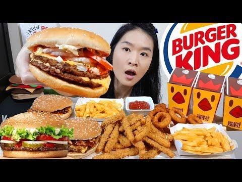 BURGER KING XL FEAST!! Cheesy BBQ Burgers, Whopper, Chicken Fries, Onion Rings   Mukbang Eating Show