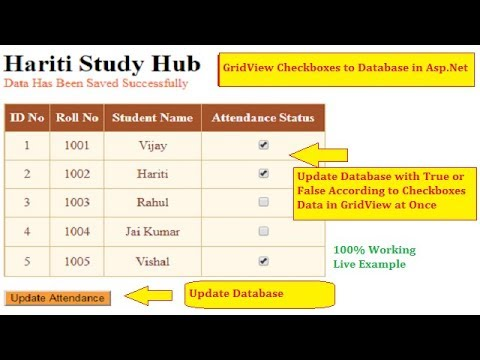 Save CheckBox Values in GridView to Database at Once in Asp.Net C# | Hindi | Free Online Learning