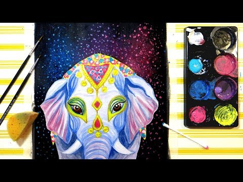 Holi Elephant Watercolor and Acrylic Mixed Media Painting Techniques for Beginners