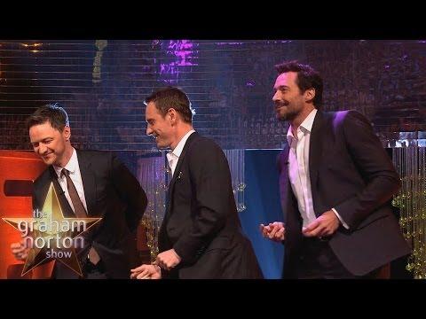 Michael Fassbender, Hugh Jackman & James McAvoy Dance to