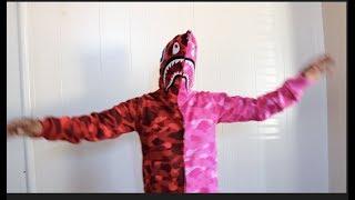 Red/pink bape shark hoodie
