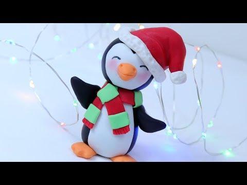 How to make fondant Christmas Penguin cake topper tutorial