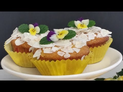 Pina Colada Cupcakes-Muffins (This Recipe Is Oil & Butter Free)