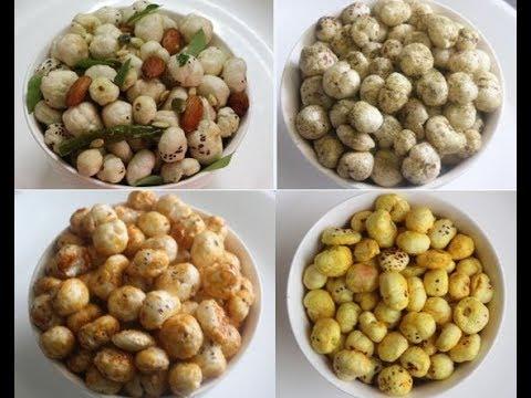 4 Makhana snacks recipes /how to roast makhana / weightloss /Fox nut  by Raks HomeKitchen