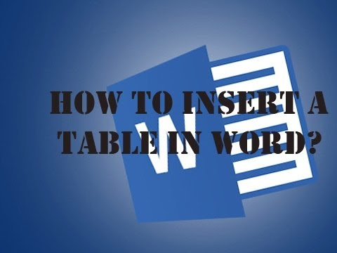 How To Make A Table In Microsoft Word 2013