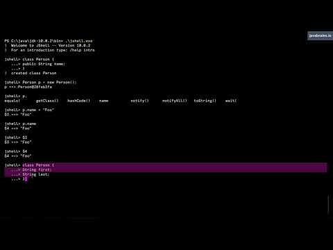 JShell Basics 13 - Creating classes