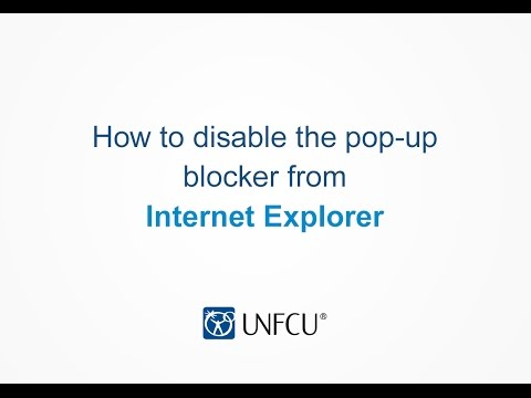 Internet Explorer: Disabling the Pop-up Blocker