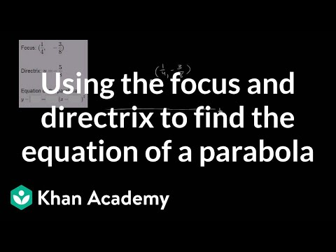Using the focus and directrix to find the equation of a parabola | Algebra II | Khan Academy