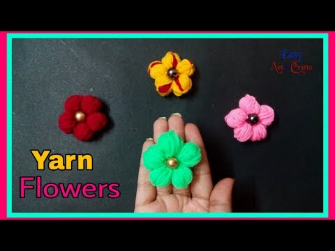 DIY No Knitting Yarn Flower - How To Make Yarn Flowers - DIY Yarn Craft