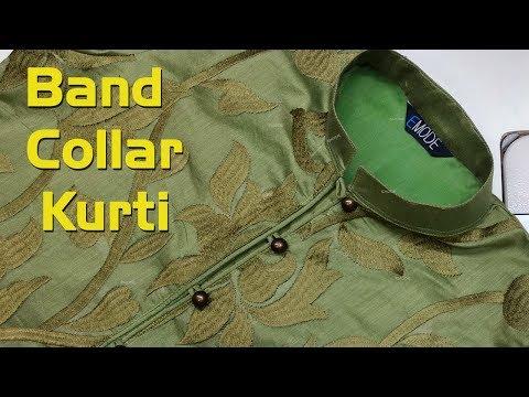 Band collar kurti stitching with lining,
